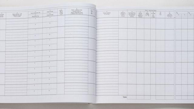 Used Vehicle VAT Stock Book