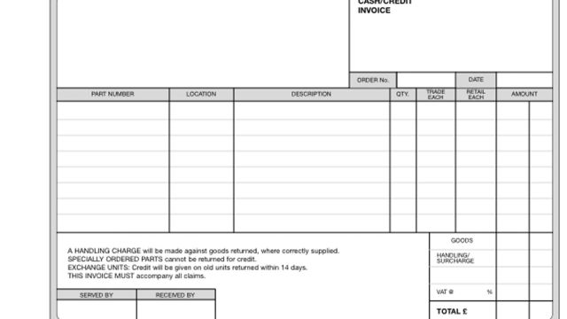 Cash/Credit Invoice