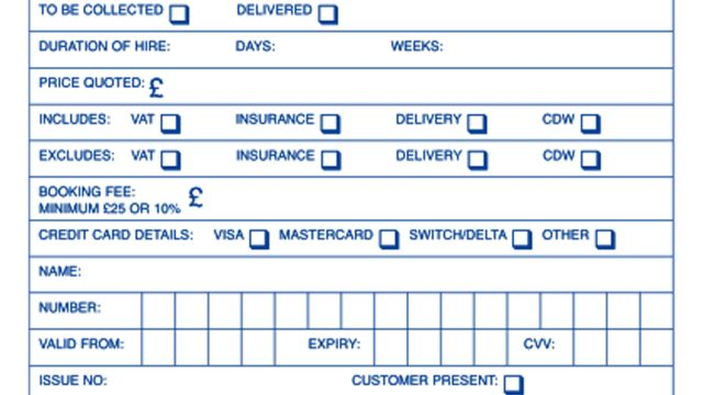 Rental Booking Forms